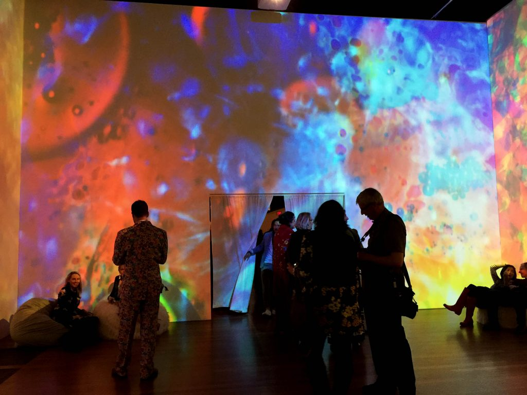 "Bill Ham Light Painting /Lightshow Room at de Young Museum ""The Summer of Love Experience"", photo by emi"