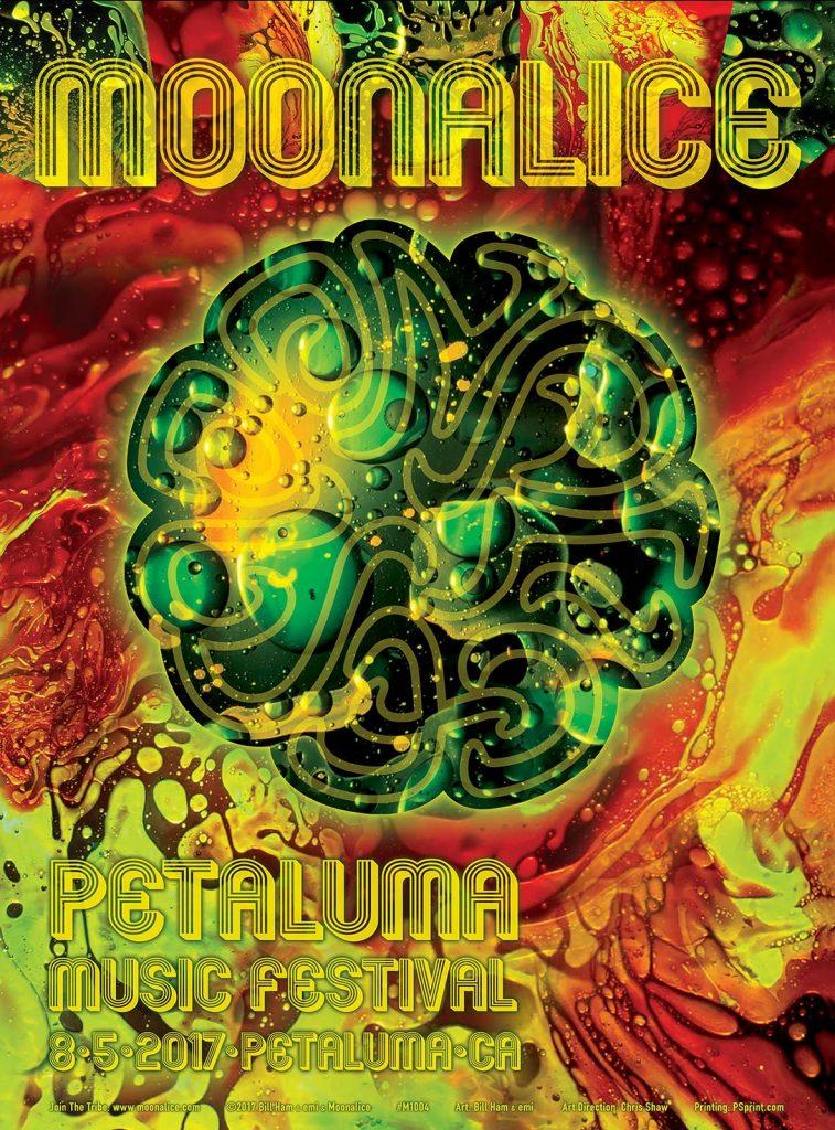 Moonalice poster for Petaluma Music Festival 2017, design by emi