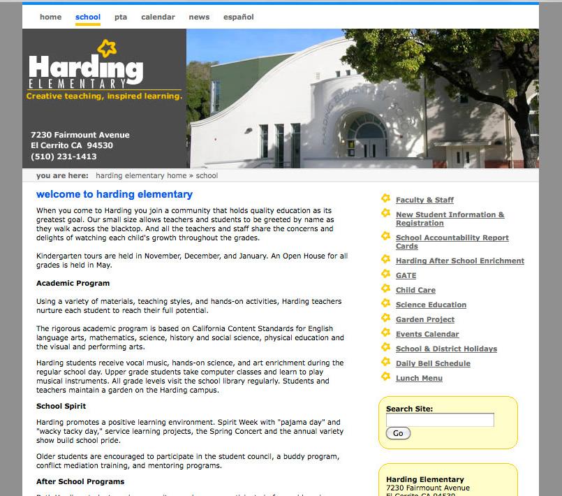 Hading Elementary School website, by emi
